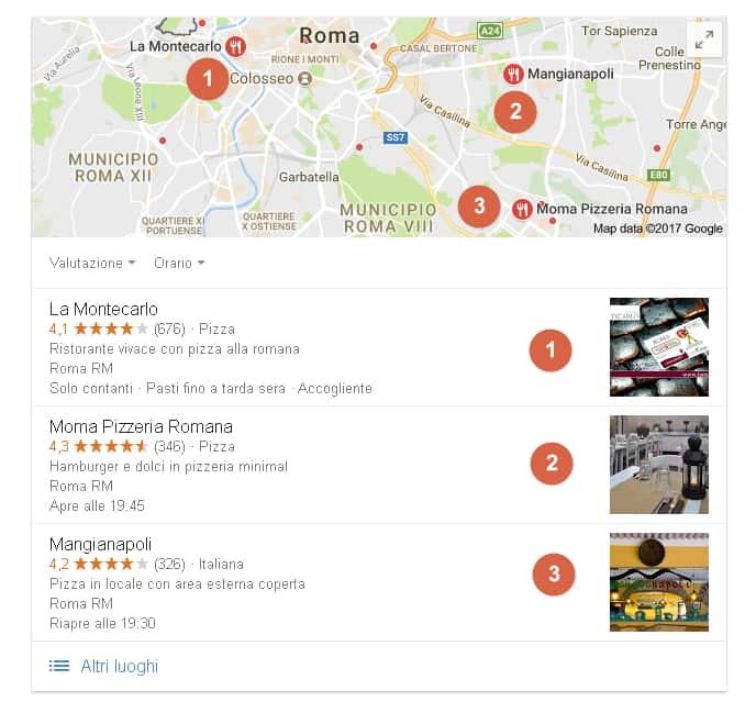 Immagine ricerca su google pizzerie a Roma